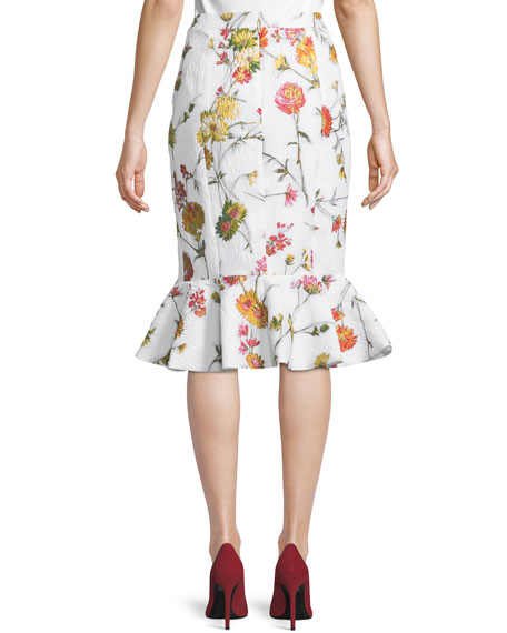 Floral Jacquard Ruffle Skirt