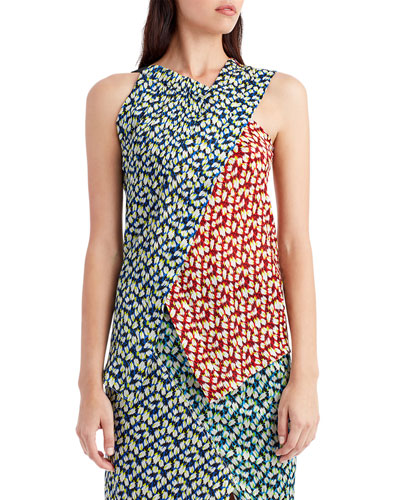 Sleeveless Patchwork Silk Top