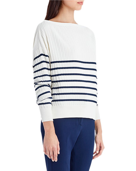 Striped Knit Off-Shoulder Sweater