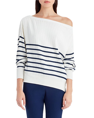 Striped Knit Off-Shoulder Sweater