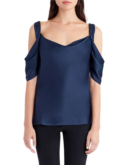 Draped Satin Cold-Shoulder Top
