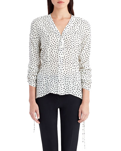 Dot-Print Crepe de Chine Blouse