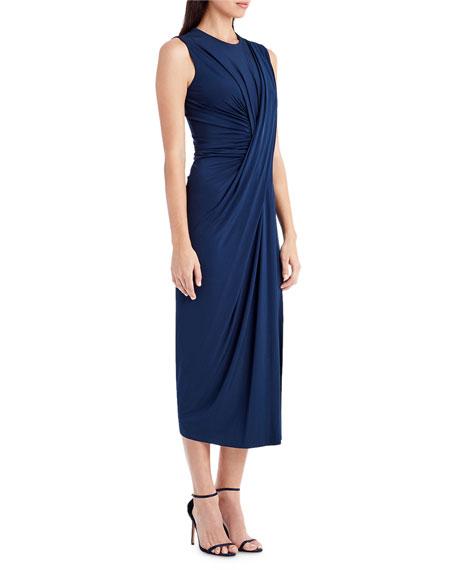 Sleeveless Pleat-Front Midi Dress