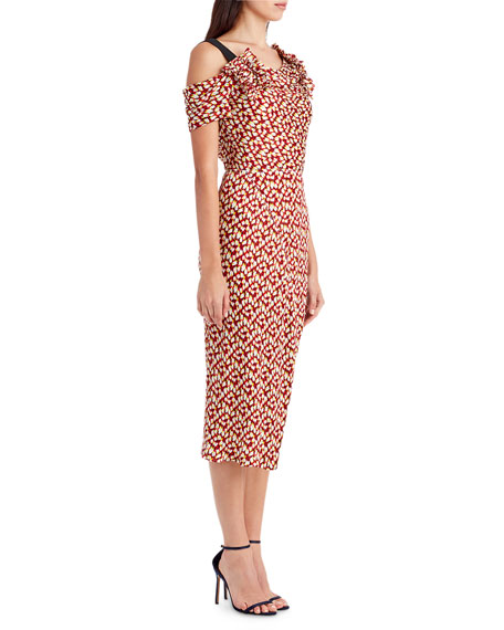 Abstract-Print Cold-Shoulder Dress