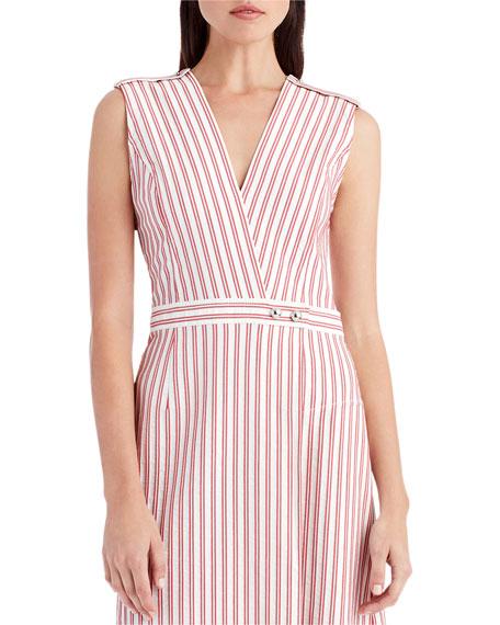 Striped V-Neck Shirting Dress