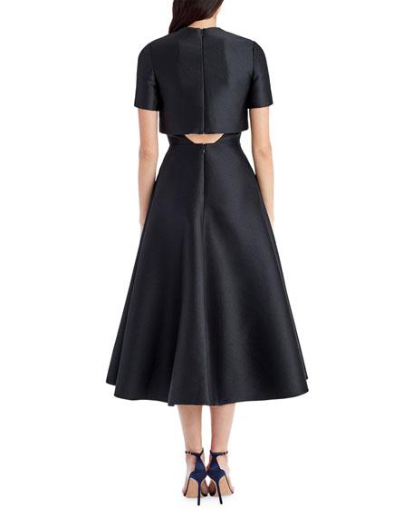 Short-Sleeve Sateen Popover Cocktail Dress