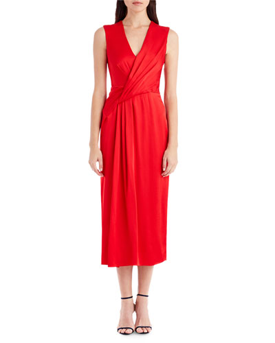 Sleeveless Wrap-Front Crepe Cocktail Dress