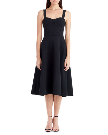 Sleeveless Crepe Corset Cocktail Dress