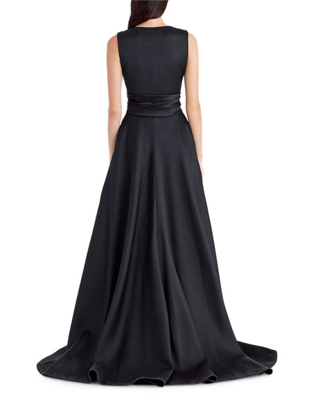 Sleeveless V-Neck High-Low Gown