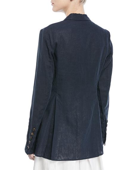 One-Button Cotton Organza Blazer with Feather Monili Pin