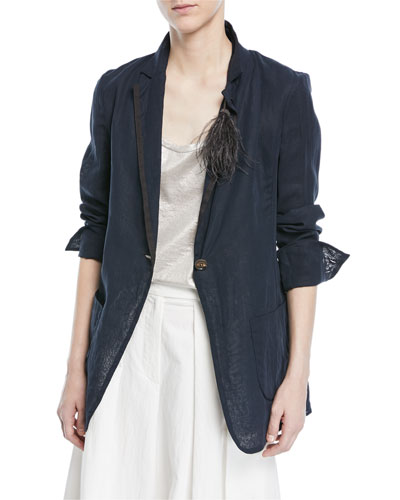 One-Button Cotton Organza Blazer with Feather Monili Pin