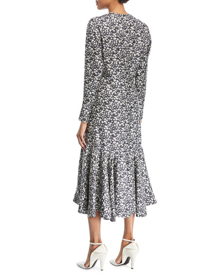 Daisy-Print Long-Sleeve Silk Midi Dress