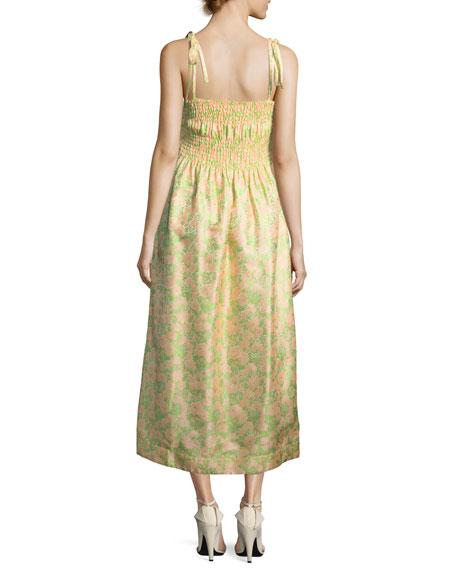Smocked Floral Jacquard Tie-Shoulder Dress