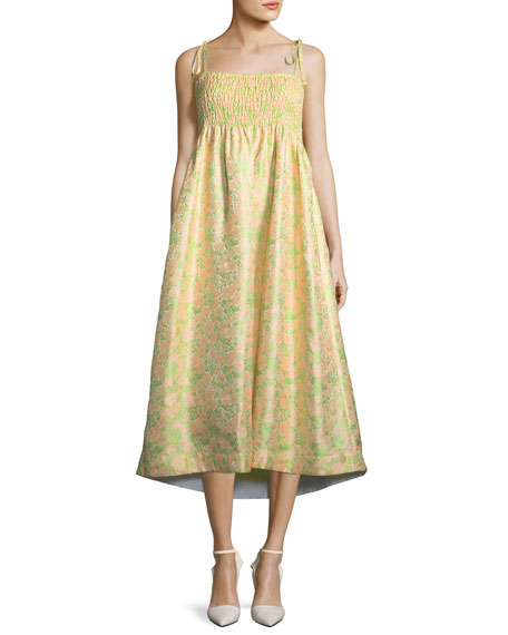 Smocked Floral Jacquard Tie-Shoulder Dress