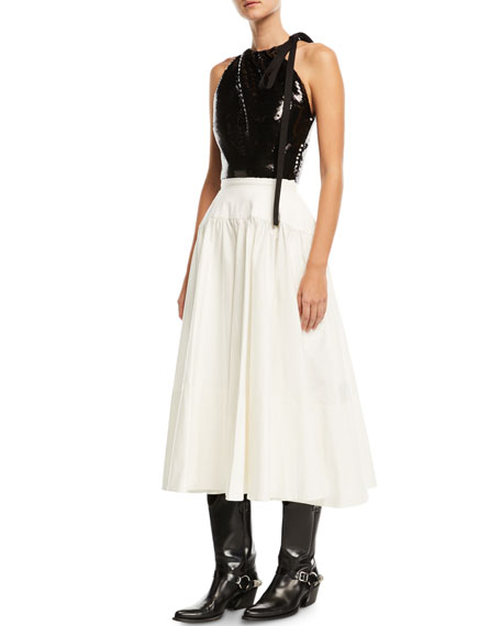 Sleeveless Sequined Top and Flared Skirt Midi Dress