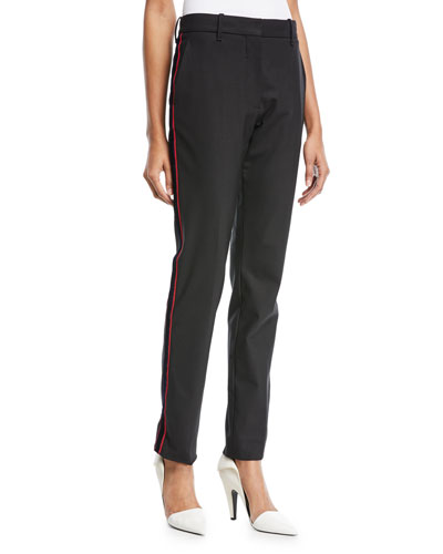 Straight-Leg Wool Pants with Side Stripe