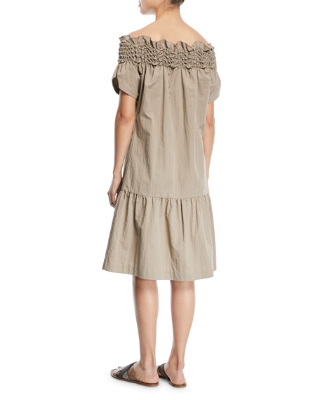 Crinkle-Cotton Off-the-Shoulder Dress with Smocking