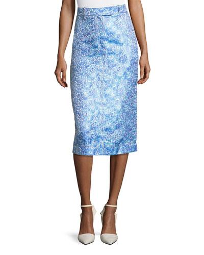 Flower Jacquard Midi Skirt