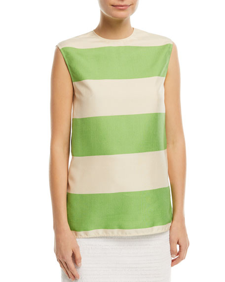Sleeveless Colorblock Shantung Top
