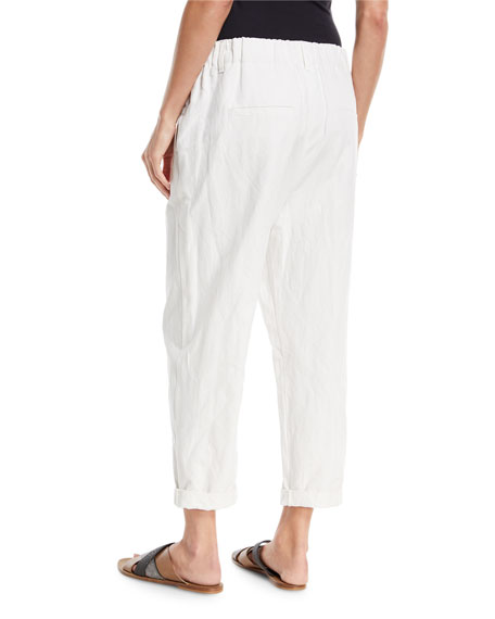 Cotton Straight-Leg Pull-On Utility Pants