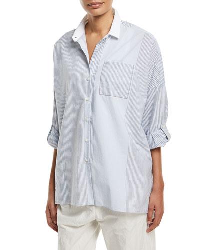 Cotton Variegated-Stripe Button-Down Blouse