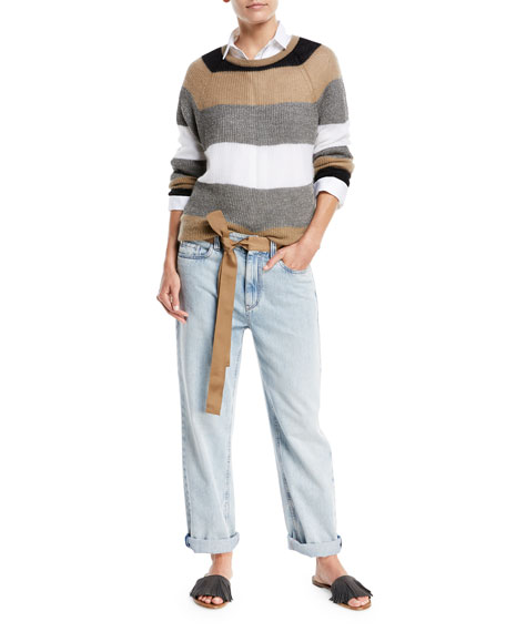 Mid-Rise Bleached Denim Jeans with Ribbon Belt