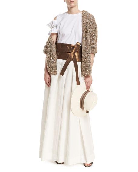 Pleated Wide-Leg Cotton-Blend Skirt-Pants