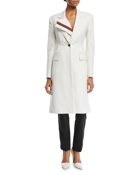 Notched-Collar Single-Breasted Coat with Stripe Placket