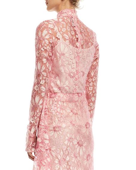 Mock-Neck Long-Sleeve Sheer Lace Blouse
