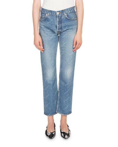 Logo-Print Cropped Denim Jeans