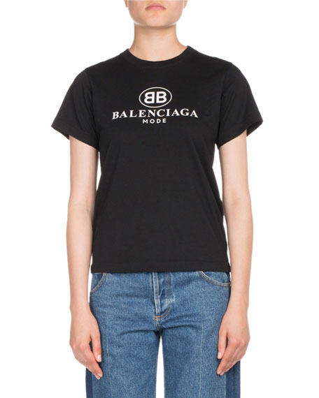 Oversized Bb Mode Printed Jersey T-Shirt, Black
