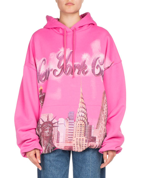 Oversized Printed Cotton-Jersey Hooded Top, Pink