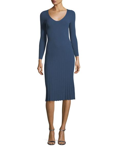 V-Neck 3/4-Sleeve Rib Knit Dress