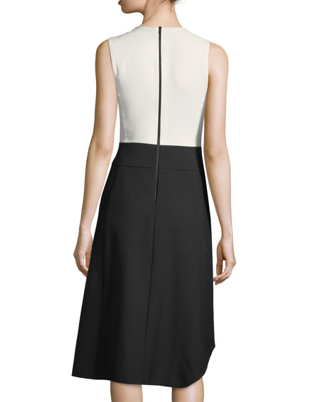 Wool Sleeveless Colorblock Dress