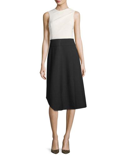 Wool Sleeveless Colorblock Dress