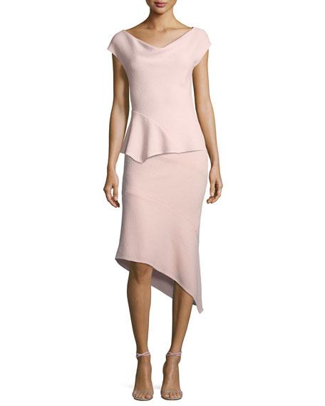 Wool Crepe Asymmetric Skirt