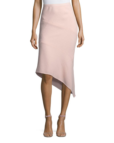 Wool Crepe Asymmetric Skirt