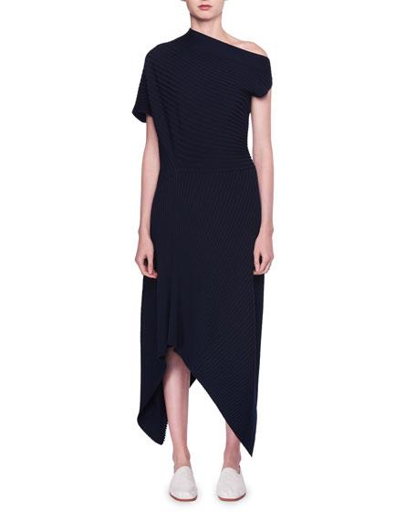 Jiana Asymmetric Rib-Knit Wool-Blend Midi Dress