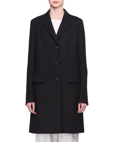 Three-Button Long Wool Coat