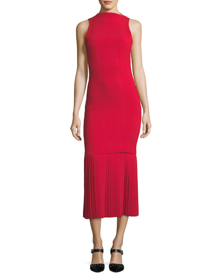 Sleeveless Mock-Neck Pintucked Belted Ankle-Length Cocktail Dress