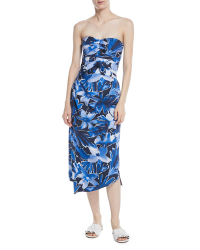 Strapless Draped Floral Midi Dress