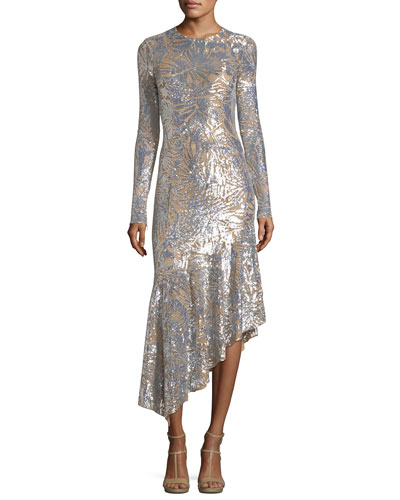 Metallic Leaf-Embellished Midi Dress