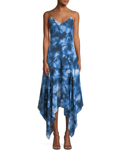 Asymmetric Tie-Dye Silk Midi Dress