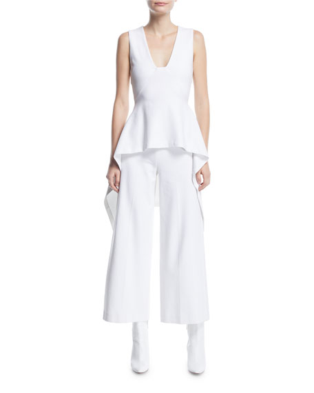 High-Rise Wide-Leg Interlock Jersey Cropped Trousers