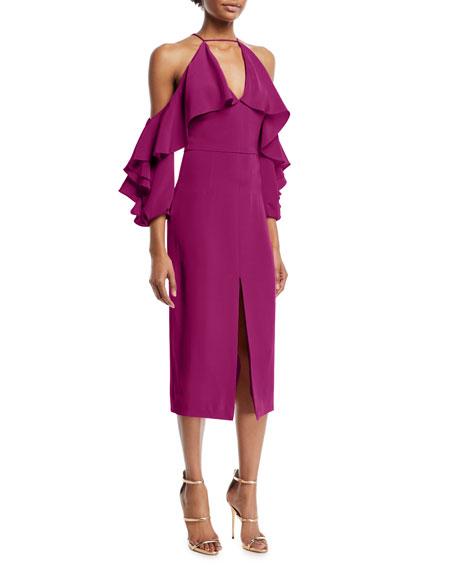 Aura Ruffled-Frill Cold-Shoulder Halter Silk Crepe Cocktail Dress