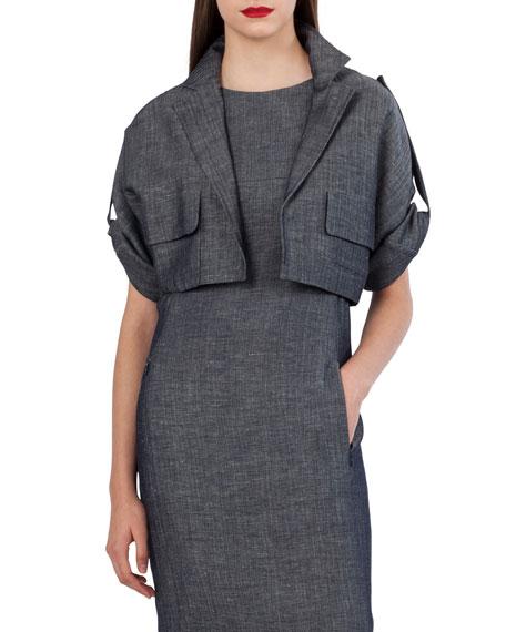 Cropped Wool-Linen Jacket