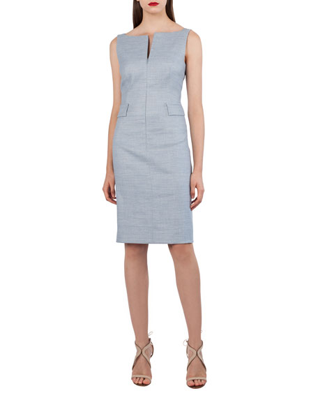 Split-Neck Sleeveless Sheath Dress