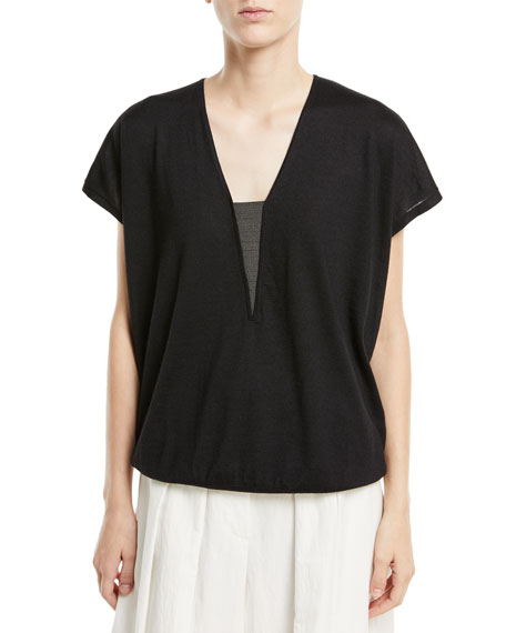 Cashmere/Silk V-Neck Sweater w/ Monili Trim