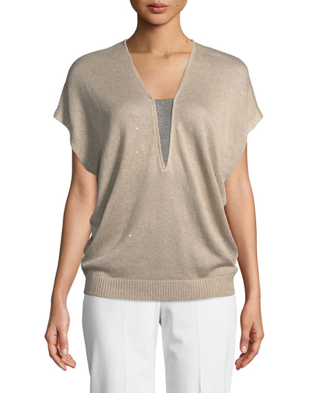 V-Neck Cap-Sleeve Paillette Top with Monili Inset