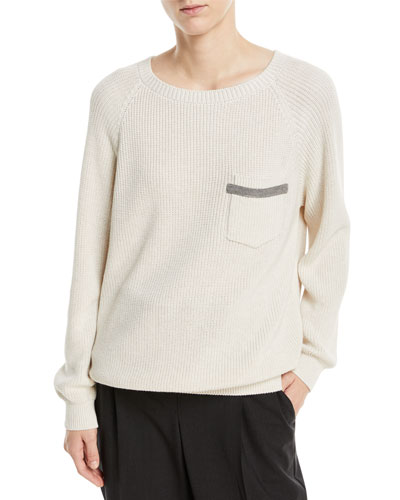 Cotton Rib-Knit Sweater w/ Monili Pocket Trim
